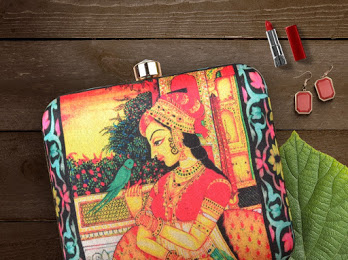 b2664dc569 Mughal Queen Art Printed Silk Box Clutch